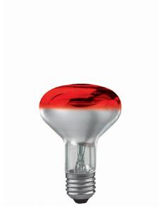 25061 Лампа R80 рефлект., красная-прозрачн. E27, 60W Reflector lamps for directed light in spotlights, spots and downlights 250.61 Light bulb, reflector R80 60 W E27, red 230 V Paulmann