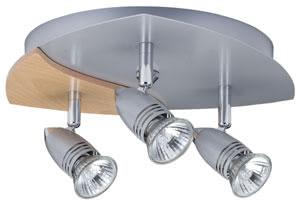 Spotlights Hilke circle 3x50W GU10 alu/Wood 230V alu/glass