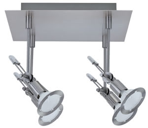 Spotlights Tangens Quadro 4x35W GU5,3 Nickel Satinised 230/12V 150 alu/glass