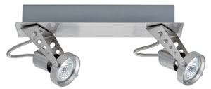 Spotlights Dean beam 2x50W GU5,3 Nickel Satinised 230/12V 105 alu/glass