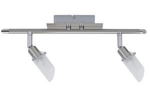 Spotlights Jutta wall-/ceiling lamp 2x40W G9 Nickel Satinised 230V alu/glass