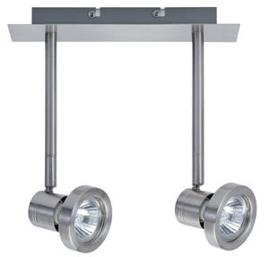 Spotlights Steven wall-/ceiling lamp 2x50W GU10 nickel satin. 230V alu/glass
