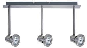 Spotlights Steven wall-/ceiling lamp 3x50W GU10 Nickel Satin. 230V alu/glass