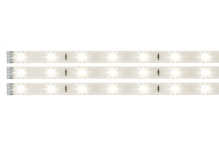 70212 Лента светодиодная LED Stripe Set 3x97cm Warmwei? 3x3,12W 12V DC Wei? Kunststoff Coated YourLED LED strips in a 3-piece set, with warm white light colour for decorative room illumination and practical use. Easy installation thanks to adhesive backing and plug-in system. Optional splash protection via accessories. Please select the required power supply based on the total strip length. 702.12 YourLED stripe, set, 3x97 cm, Warm white white, clear-coated Paulmann