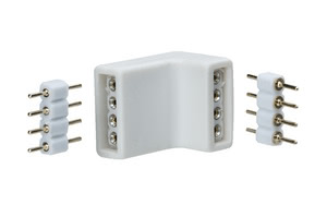 YourLED corner connector, set of 4, white, black, plastic