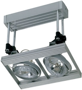 Home & Office Cardano 111 ceiling lamp 2x50W G53 titanium 230/12V 105VA alu/glass