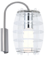 79369 793.69 Living Grado wand lamp 1x23W E27 ESL Decopipe Chrome/Opal 230V Metal/Acryl Paulmann