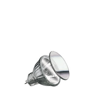 "82220 Лампа галогенная 12V 20W GU4 30°FTD flood MR11 Security (D-35mm, H-35mm) (1000h) серебро Security  Halogen light is brilliant, strong – and quite hot. The Security bulb ensures more safety, due to it""s special coating: 80 percent of its heat is directed out the front. Ideal for downlights: Insulation behind the ceiling is not endangered. 822.20 Security halogen reflector front glass FTD flood 30° 20W GU4 12V 35mm Silver Paulmann"