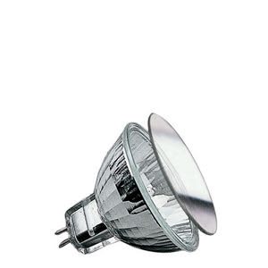 Security halogen reflector front glass 50W GU5,3 12V 51mm Silver