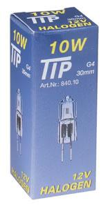 TIP halogen capsule 10W G4 12V 9mm clear