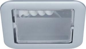 92006 Светильник встраиваемый, 1х9W, хром матовый 920.06 Quality EBL eckig ESL 1x9W 230V E14 120mm Chrom matt/Polycarbonat Paulmann