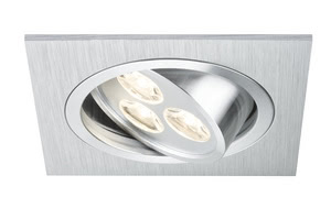 92532 Набор св-ков Premium EBL Aria eckig schw LED 3x3W, алюминий Elegant material – high-quality finish. The individually swivelling LED recessed luminaires in the Premium Line offer efficient but homelike warm white LED light and meet the most stringent standards for material quality and design. 925.32 Premium Line recessed light set, LED Aria 3W square, brushed aluminium, set of 3 Paulmann
