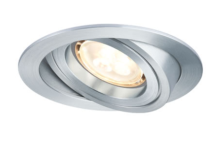 92623 PremEBL Drilled rund schw.LED 3x4W GU10 Elegant material – high-quality finish. The individually swivelling LED recessed luminaires in the Premium Line offer efficient but homelike warm white LED light and meet the most stringent standards for material quality and design. 926.23 Premium Line recessed lighting set, 4 W LED Aluminium turned, swiv., Round Paulmann