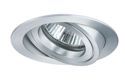 92631 PremEBL Set Drilled 6x28W Alu rund schwb Elegant material – high-quality finish. The individually swivelling halogen 12 V recessed luminaires of the Premium Line offer brilliant light and fulfil even the highest expectations for material quality and design. 926.31 Premium line recessed light, halogen, 51 mm Alum. rotated, swiv., Round, 6x28W Paulmann
