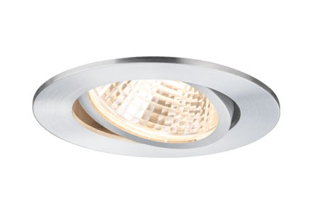 92644 светильник встр. Prem.EBL Set schw LED1x13W 15VA Alu dril Elegant material – high-quality finish. The individually swivelling LED recessed luminaires in the Premium Line offer efficient but homelike warm white LED light and meet the most stringent standards for material quality and design. The recessed lamp means that the light it emits is free of glare despite its excellent light output. 926.44 Premium line recessed light set Daz 1x13W LED Aluminium turned, swiv., 1 pc. set Paulmann
