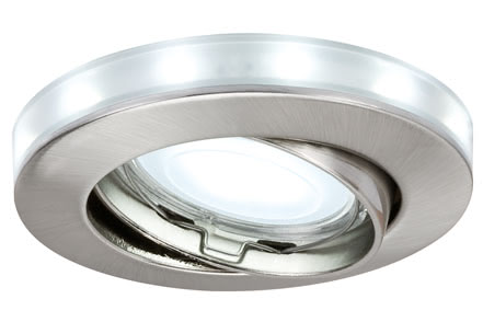 92649 Star EBL schw.LED Sternr. 3x45W GU10 Eis Energy-saving general illumination paired with separately switchable starry sky effect – this special combination is made possible by the Paulmann Star Line LED ring set. The individually swivelling energy saving LED recessed luminaires in the Premium Line are notable not only for their stylish design and high quality materials, but also because they help you save lots of energy. With the LED starry sky rings, you can easily create brilliant lighting accents and breathtaking lighting installations guaranteed to attract attention. 926.49 Recessed light set, LED with starry sky LED Brushed iron, 3 pc. set Paulmann