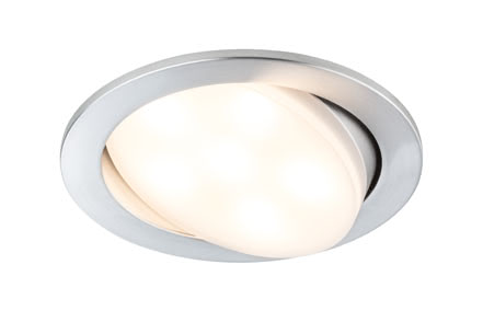 92673 Комплект светильников Prem EBL Set Daz LED 3x6W Alu drilled Elegant material – high-quality finish. The individually swivelling LED recessed luminaires in the Premium Line offer efficient but homelike warm white LED light and meet the most stringent standards for material quality and design. The recessed lamp means that the light it emits is free of glare despite its excellent light output. 926.73 Premium line recessed light set, Plainly 3x7W LED Aluminium turned, 3pc. set Paulmann