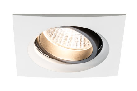 92678 Светильник встр. Set Daz schw. eckig LED 2x7W Elegant material – high-quality finish. The individually swivelling LED recessed luminaires in the Premium Line offer efficient but homelike warm white LED light and meet the most stringent standards for material quality and design. The recessed lamp means that the light it emits is free of glare despite its excellent light output. 926.78 Premium line recessed light set, Daz 2x7W LED Matt white, swivelling square, 2-pc. set Paulmann
