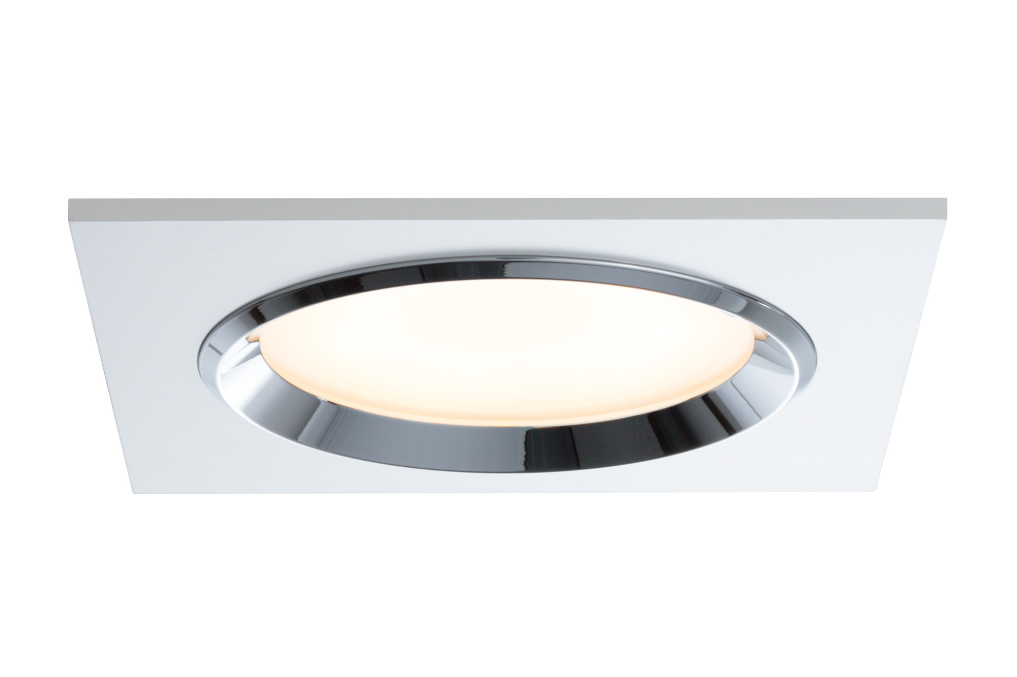 92695 Prem. EBL Set Dice eckig LED 3x8W Ws Elegant material – high-quality finish. The LED recessed luminaires in the Premium Line offer efficient but homelike warm white LED light and meet the most stringent standards for material quality and design. The recessed lamp means that the light it emits is free of glare despite its excellent light output. 926.95 Premium line recessed light set, Dice LED White/chrome, rigid, 3-pc. set Paulmann