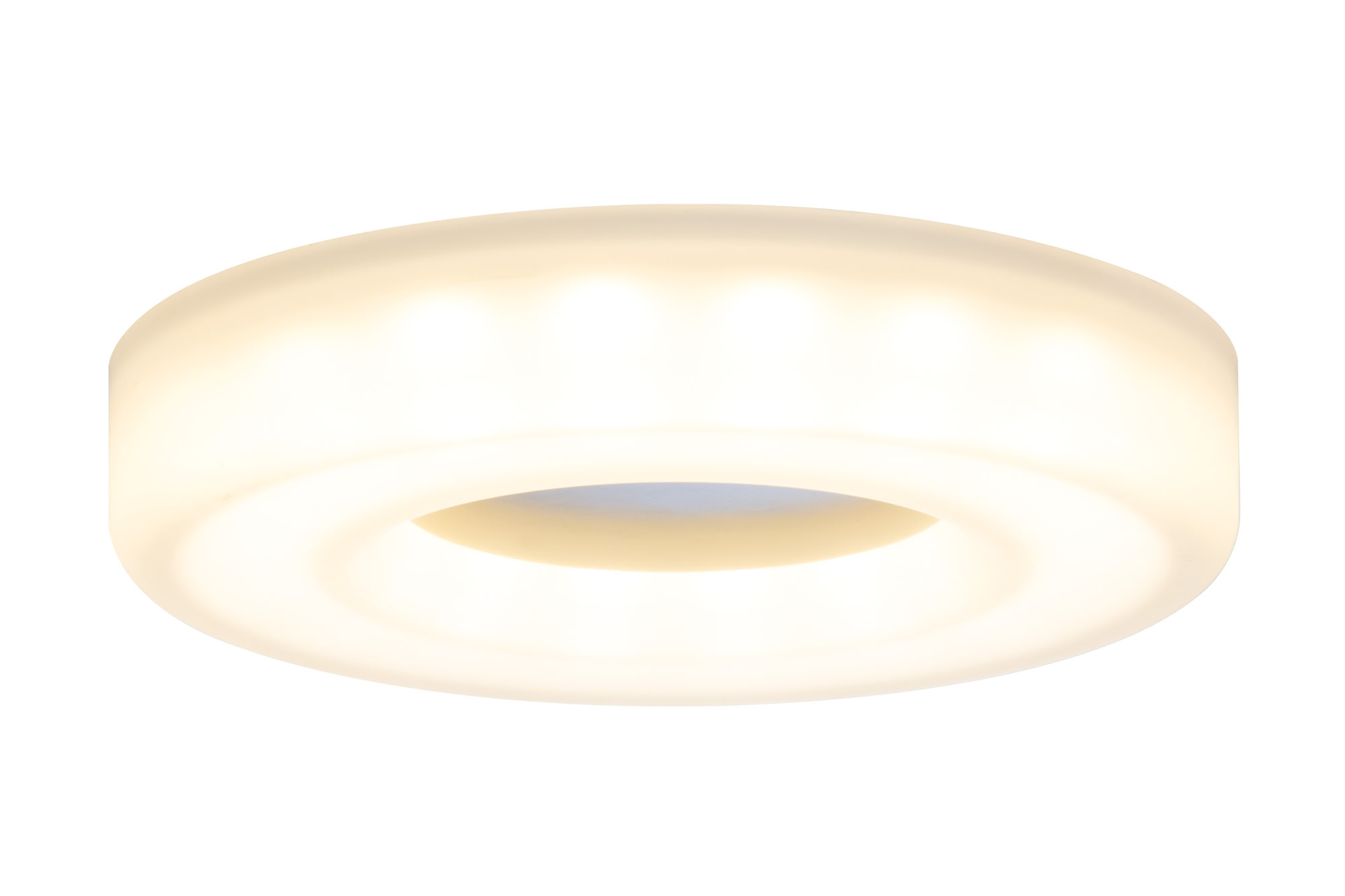 92704 Prem. EBL Set Bagel rund LED 3x6W Sat/Al Elegant material – high-quality finish. The LED recessed luminaires in the Premium Line offer efficient but homelike warm white LED light and meet the most stringent standards for material quality and design. The recessed lamp means that the light it emits is free of glare despite its excellent light output. 927.04 Premium line recessed light set, Bagel LED Satin, aluminium, rigid, 3-pc. set Paulmann