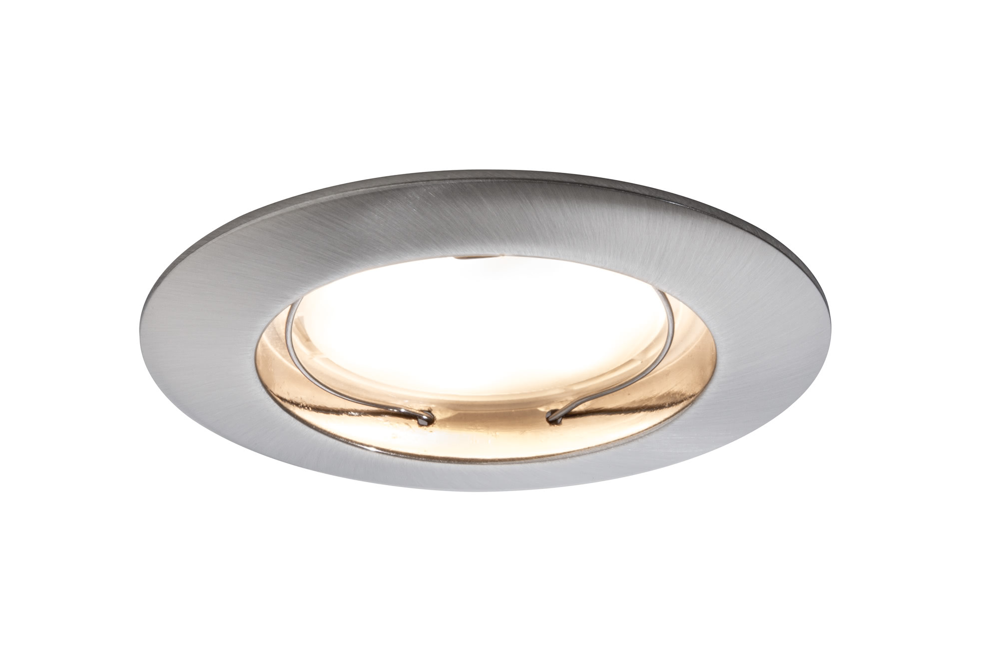 92722 Premium EBL Set Coin starr LED Eisen g. The Coins are innovative and user-friendly recessed spotlights that are suitable for new installations as well as replacing existing installations. Since they are exceptionally flat, they can be installed in ceilings with a cavity of only 30 to 35 millimetres. From 50 centimetres to 5 metres or more – you determine the spacing between the lights! The simple and tool-free linking of single luminaires using quick clips save more than just time and stress – thanks to energy-efficient LED technology with very lower power consumption, the Coins are also easy on the wallet. 927.22 Recessed luminaire LED Coin satined round 6.8W iron 3-piece set Paulmann