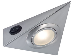 93503 Светильник M?bel ABL Set 3eck LED 3x5W E-Stahl The perfect under-cabinet or display case luminaire – all the triangular under-cabinet luminaires in the Micro Line need for installation is a smooth surface. Cables disappear behind the hanging box, which puts them completely out of view. The stainless steel surface is very tough and the LED modules give plenty of light for relaxed working. 935.03 Micro line furniture up light set, triangular LED Stainless steel, 3x 5 W, Warm white Paulmann
