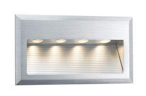 93752 Светильник наст. LED 1х4W, 3000K Light need not always come from above: The Special Line Cross Wand LED is specially designed for the in-wall mounting, sets attractive light effects and increases safety through lighting, e.g. in corridors or indoor staircases. 937.52 Special line recessed wall light, Cross LED Alu brushed, 1 pc. set Paulmann