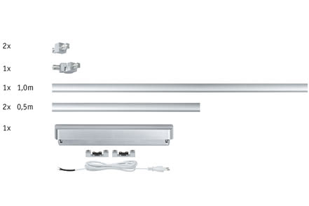 ULine, Basic rail system, 60W, max. 2.3 m, 230V/12V, Chrome matt