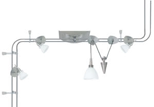 96501 Светильник потолочный Verbier 150 JoJo 3X35W+1x20W GU4 Verbier, the 3-lamp Halogen 12В volt rail system with a total output of 140В W, features energy-saving 12В volt technology. The brilliant halogen light, which can be infinitely regulated using a conventional dimmer, creates a pleasant atmosphere in any living area. The system is suitable for wall and ceiling mounting. 965.01 Rail system Verbier 2,1m 4x35W halogen 230V/12V, GU4, Brushed iron, opal Paulmann