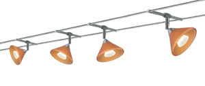 97266 Набор тросовых светильников WIRE 12V Colmar 150 4x35W GU4 230/12V хром/оранжевый лощеный/желтый лощеный (транс 150VA) (L-10m,B-160mm)