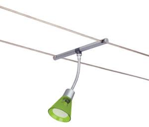 97447 Светильник подвесной для струн. системы Spice Curcuma 12V, 1x35W, GU4, мат./зелён. прозр. 974.47 Wire Systems Spice Curcuma spot 35W GU4 Chrome matt/pale Green 12V Paulmann