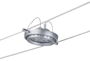 97476 Cветильник для тросовой системы WIRE 12V L&E Powerline LED 1x18W G53 12V 6500К алюминий (В-190mm) 974.76 Wire Systems Light&Easy Spot Powerline LED 1x(9x2W) G53 Alu 12V Plastic Paulmann