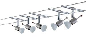 97566 Набор тросовых светильников WIRE 12V Shella 105 5x20W GU5,3 230/12V никель лощеный (транс 105VA) (L-10m,B-160mm) 975.66 Wire Systems Sheela 105 5x20W GU5,3 Nickel Satinised 230/12V 105VA Metal Paulmann
