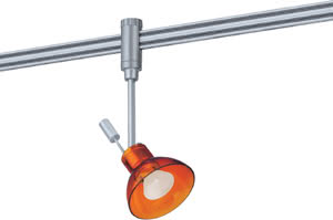 97574 Cветильник для шинной системы PHANTOM 230V L&E Zaretti 1x50W GZ10 230V титан/оранжевый лощеный 975.74 Phantom Spot Zaretti 50W GZ10 Chrom matt / Orange transparent Paulmann