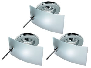 Deco recessed light Carré Cristal 3x35W 105VA 230/12V GU5,3 83mm chr sheet st/gl