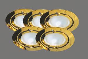98479 Набор светильников встраиваемых круглых мебельных 5x20W G4 230/12V золото (транс 105VA) 984.79 Furniture recessed light Klipp Klapp 5x20W105VA230/12VG4 72mmGold sheet st/gl Paulmann