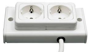 Home&Office WorX Twin Plug Steckdosen Weiss 230V Kunststoff