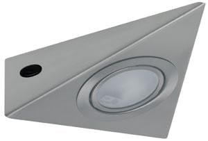 Möbel ABL 3eck. 1x20W 60VA 230/12V G4 Eisen gebürstet Metall/Glas
