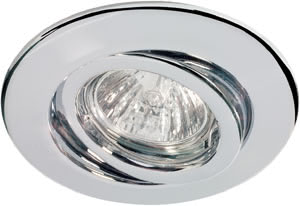 Quality recessed light swiveling 4x50W 2x105V A230/12V GU5,3 110mm Chr sheet st