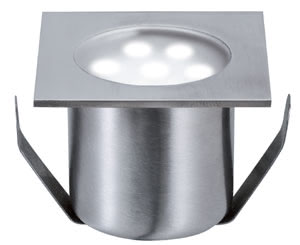 98870 Светильник встраиваемый LED 4x0,6W IP 65 сталь The Mini Special Line floor recessed luminaire gives you the option of creating lighting accents outdoors as well as indoors. This stainless steel recessed luminaire conforms to protection class IP65, which guarantees to be protected from spray from all directions and to be rust-free. It is suitable for installation in exterior areas subject to pedestrian traffic – the Mini Special Line can withstand a weight of up to 500В kg without any problem. 988.70 Floor recessed light basic set, Special line Mini Stainless steel, Square, 4 pc. set Paulmann