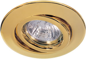 Quality recessed light set swiveling 4x50W 230V GU10 110mm Gold sheet steel