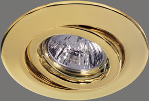 Quality recessed light set swiveling 2x50W 230V GU10 110mm Gold sheet steel