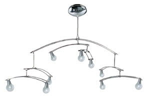 99259 Cветильник потолочный Mobile 9x10W G4 230/12V хром (транс 105VA) 992.59 Living Mobile ceiling lamp 9x10W G4 Chrome 230/12V 105VA alu/glass Paulmann
