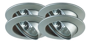 Premium line recessed light set, halogen, 51 mm Chrome matt, Swivelling, 4x35W