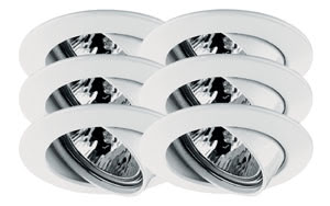 99473 Светильник поворотный Цинк, белый, 51мм, 6х35W Elegant material – high-quality finish. The individually swivelling halogen 12В V recessed luminaires of the Premium Line offer brilliant light and fulfil even the highest expectations for material quality and design. 994.73 Premium line recessed light set, halogen, 51 mm White, Swivelling, 6x35W Paulmann