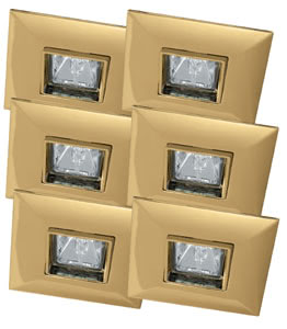 Quadro recessed light set swiveling 6x35W 2x105VA 230/12V GU5,3 Gold alu z.